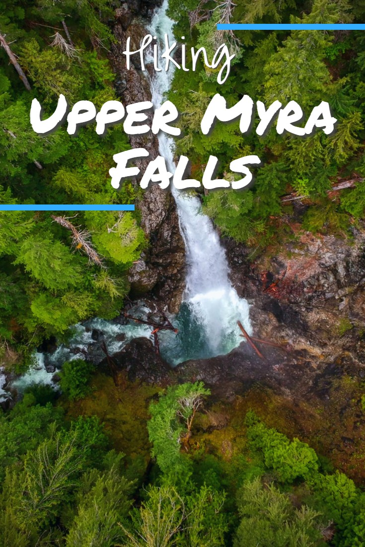 Upper Myra Falls is a scenic hike through an old-growth forest on the west side of Buttle Lake in Strathcona-Westmin Provincial Park. The trail leads to a lookout of a large horsetail waterfall. Upper Myra Falls is a longer and separate hike from the nearby, and more popular Lower Myra Falls.